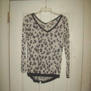 Rebecca Taylor Animal Print V-Neck Long Slv Top XS