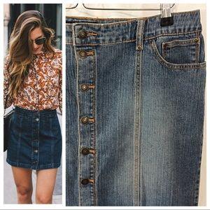 Dresses & Skirts - Front Button Stretch Denim Skirt