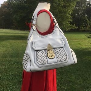 RARE Cole Haan Designer Bag woven Leather white