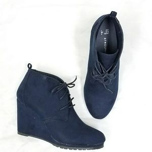 Shoes - Navy Faux Suede Booties