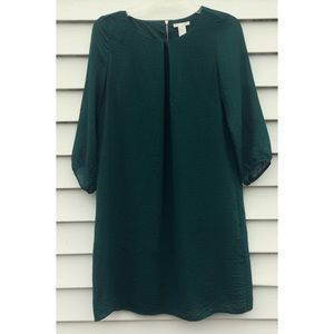 H&M Forest Green Chiffon Shift Dress