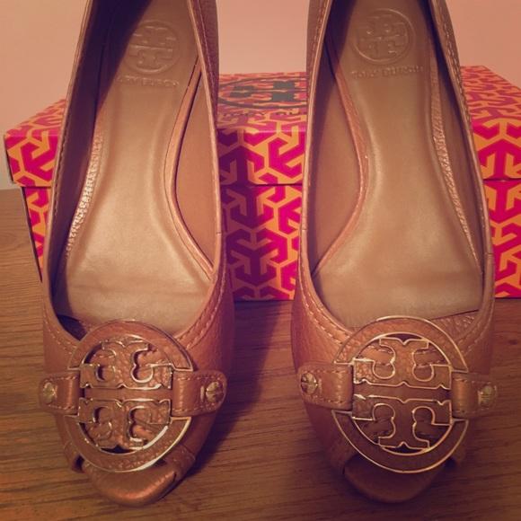 679245ebc Tory Burch Shoes - Tory Burch peep toe wedges