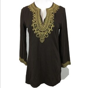 Michael Kors brown embroidered tunic kaftan