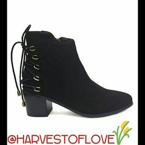 Shoes - BLACK LACE- UP BACK BOOTIES WITH MEMORY FOAM-NIB
