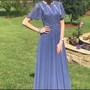 Elegant Short Sleeve Beaded Gown