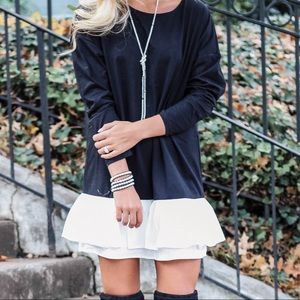 Dresses & Skirts - Black Dress w/ White Ruffle Hem