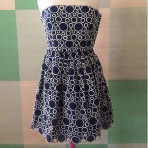 LAUNDRY by SHELLI SEGAL Navy Strapless dress 6