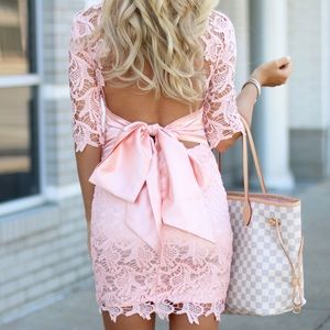Dresses & Skirts - Pink, Lace Back Bow Tie Dress