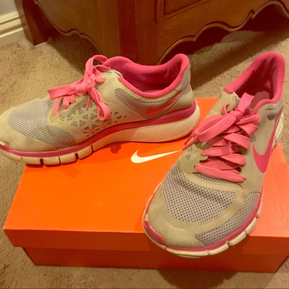 Used Grey and Pink Nike Tennis Shoes with Shoe Box