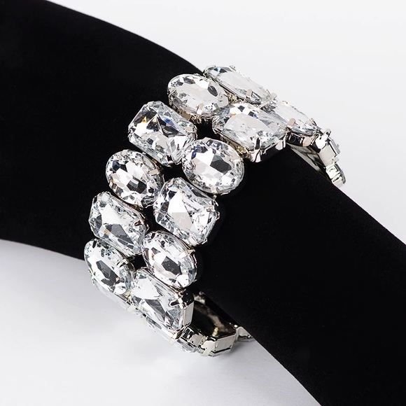 Thick cuff link chain bracelet Swarovski crystal 16f8451a2b