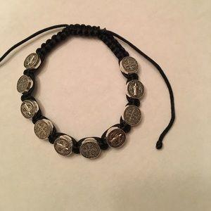 Jewelry - St. Benedict medal rosary bracelet • black