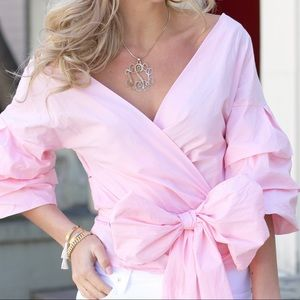 Tops - Bow Tie Pink Blouse