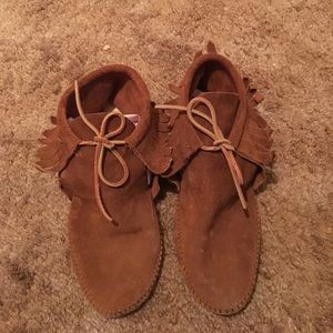 Brown suede Minnetonka moccasins