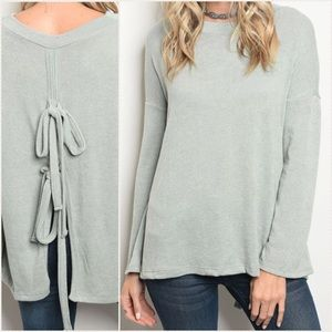 Sage Tie Back Cozy Sweater