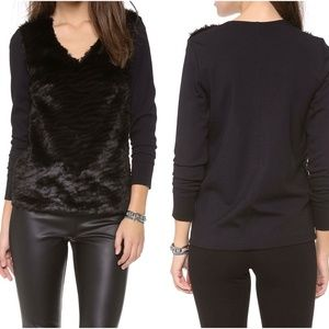 Club Monaco black faux fur sweater