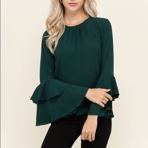 Hunter Green Bell Sleeved Blouse