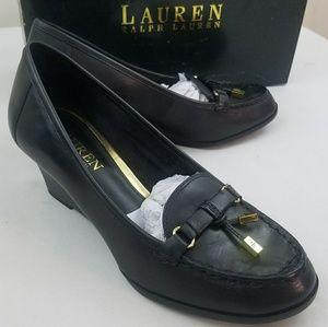 Ralph Lauren Rory Wedge Black Leather