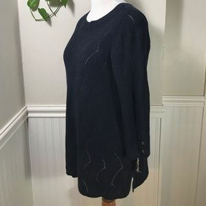 Charter Club Womens Plus Pointelle 3//4 Sleeves Pullover Sweater Deepest Navy