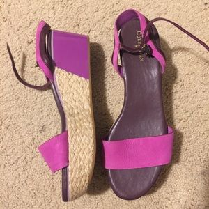 Cole haan leather purple pink wedges