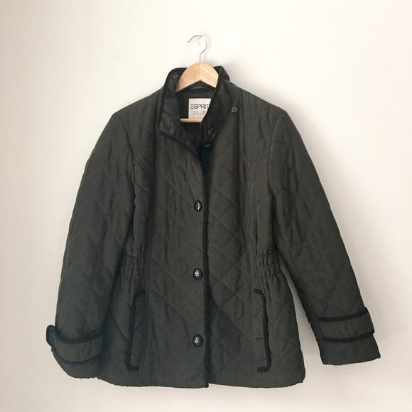 Esprit Jackets Coats Olive Quilted Jacket Size Lp Poshmark