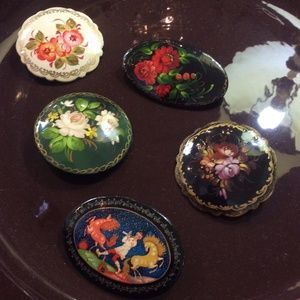 Vintage Jewelry - $40 EACH Hand painted Russian Pins / Brooches