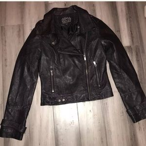 Blanc Noir Faux Leather Moto Jacket Small