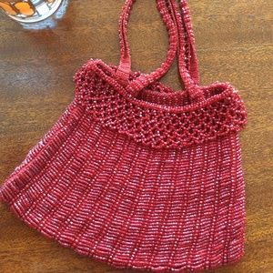 HANDCRAFT Red Crochet Bead Handbag
