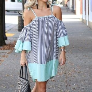 Dresses & Skirts - Striped, Shoulder Tie Dress