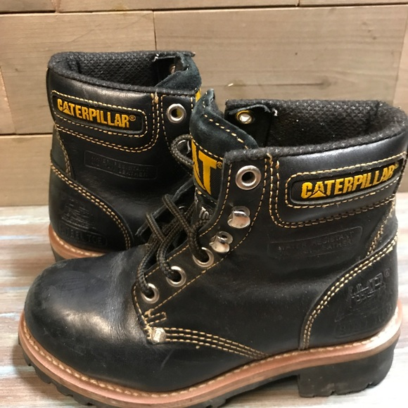 Caterpillar Shoes Womens Black Leather Steel Toe Boots Poshmark