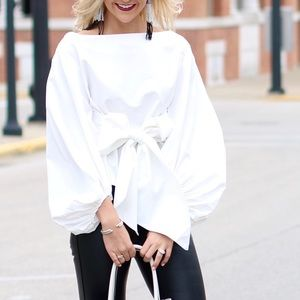 Tops - White, Bow Tie Blouse