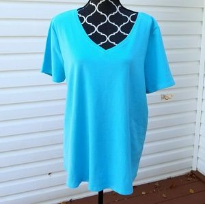 18/20 venezia plus size top, short sleeve V neck