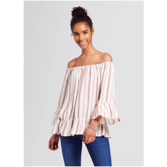 7a05588335b0a7 Striped Off-the-Shoulder Blouse
