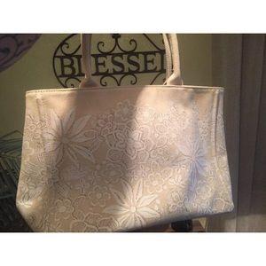 Oscar De La Renta Canvas Natural Tote Handbag