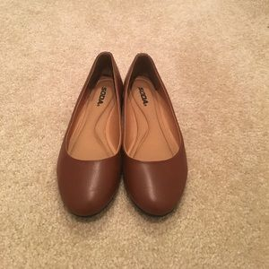 Brown Faux Leather Ballet Flats