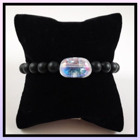 Silverskylight Jewelry - Genuine healing aura crystal & onyx bead bracelet