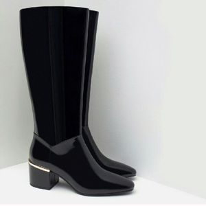 Zara Black Patent Riding boots