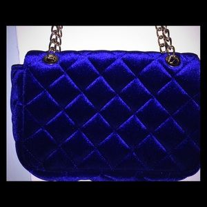 Royal blue crushed velvet Handbag