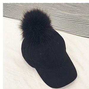 Black Pom Pom Baseball Cap