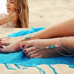Jewelry - Silver Anklet, Barefoot Sandals, Turquoise Stone