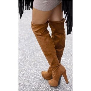🆕LAST ONE! Tan Vegan Suede Over The Knee Boots