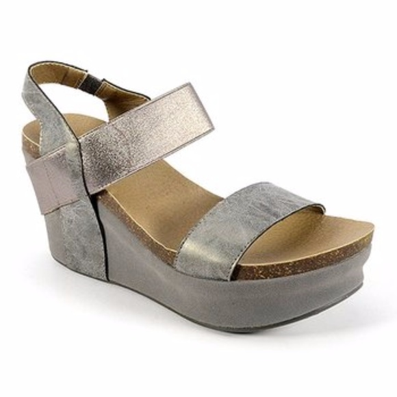 30dee422f3e Corkys shoes brand new pewter strappy wedge heel sandal poshmark jpg  580x580 Corkys sandals