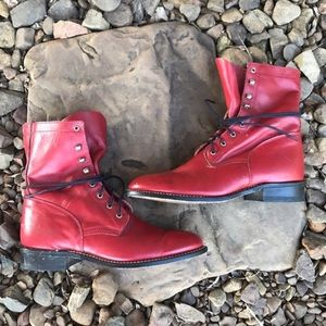 FINAL❗️Vntg Red Leather Lace Up Granny Roper Boots