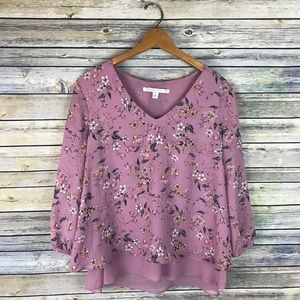 LC Lauren Conrad Purple Floral Layered Blouse