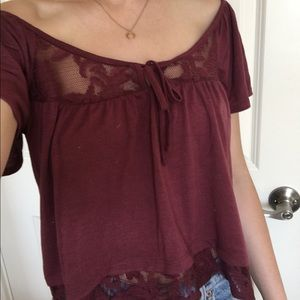 Lacey maroon wide neck top