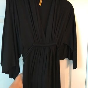 Rachel Pally Black Jersey Tie-Waist V-Neck Dress