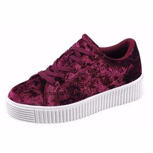 🆕Wine Crushed Velvet Sneakers