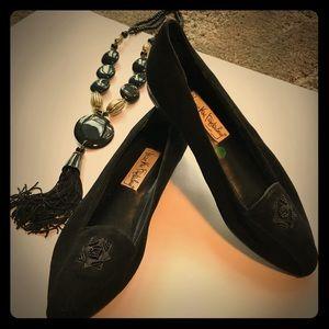 Vintage Diane Von Furstenberg Black Suede Flats8.5