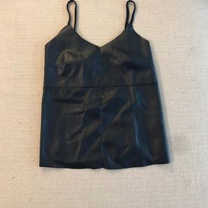 Navy leather tank with knit back