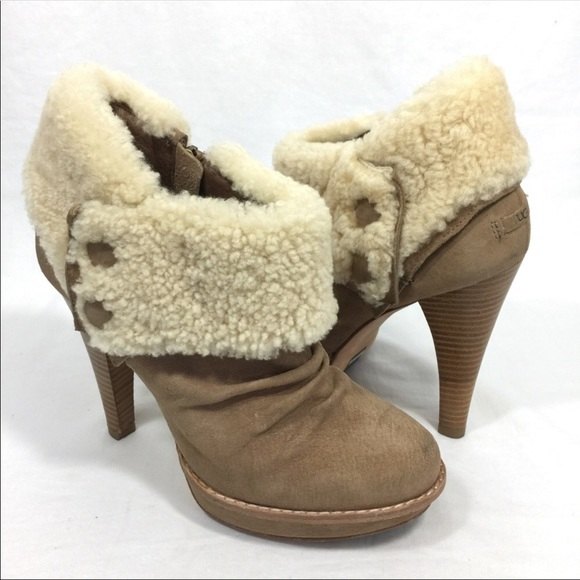 75a02fea8bb UGG Georgette Shearling Ankle Boots Booties Heels