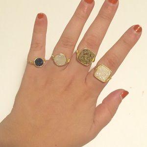 Jewelry - 4 handmade boutique druzzy stone rings